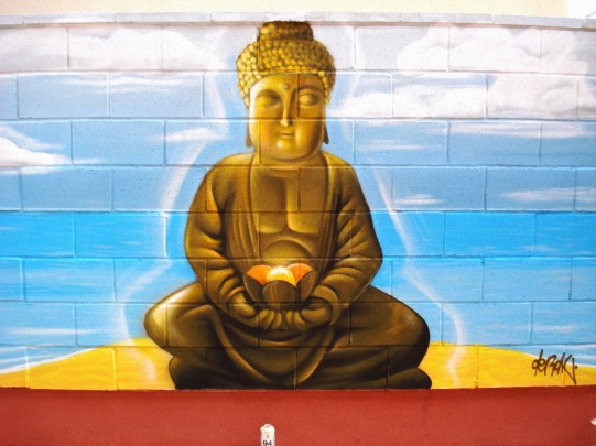 Mural graffiti budda. Graffiti Madrid