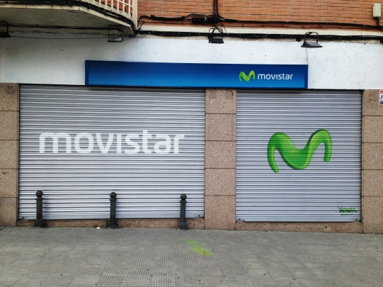 Cierres Movistar. Grafiti Madrid