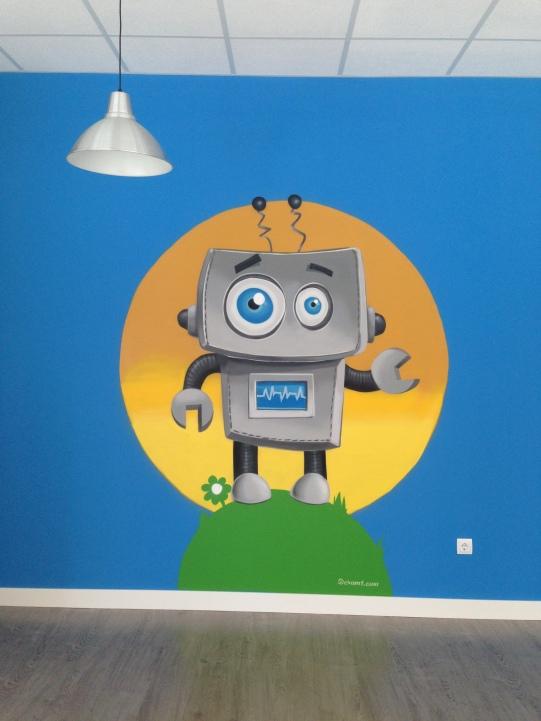Escuela infantil. Graffiti robot.