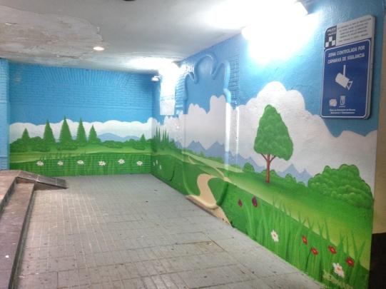 Paisaje graffiti. Graffiti profesional en Madrid.