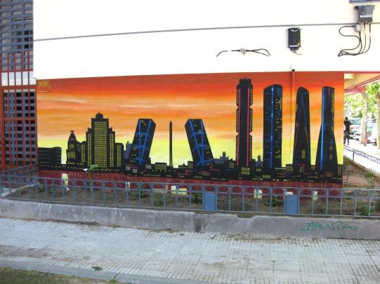 Skyline Madrid. Graffiti Madrid